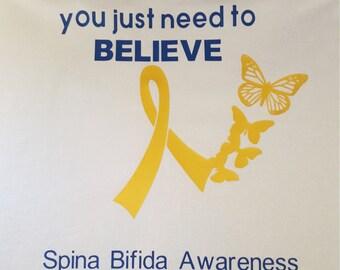 Spina Bifida Awareness Tee, Spina Bifida Tshirt, Special Needs Tshirt, Awareness, Yellow Ribbon Tshirt