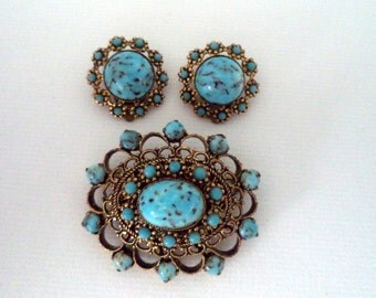 Vintage West Germany Brooch and Matching Earring Set Gold Tone Filigree Blue Art Glass