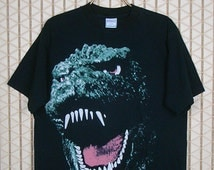 Godzilla vintage rare T-shirt, 1994 tee shirt, big print, horror movie, pop art, goth gothic, punk rock