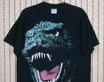 Godzilla vintage rare T-shirt, 1994 tee shirt, big print, horror movie, pop art, goth gothic, punk rock