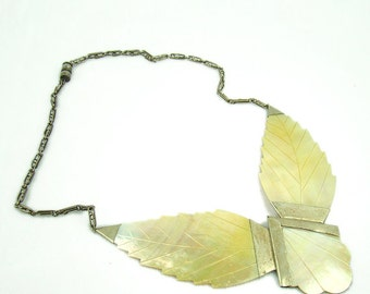 1920s Art Deco statement necklace, antique, large, carved and incised mother-of-pearl MOP,