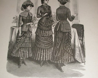 antique Mme Demorest's Reliable Patterns fashion lithograph 3 figures 1880s