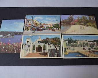 5 vintage bemuda postcards 1950s