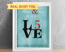 ... 5th Anniversary Gift For Him, 5 Year Wedding Anniversary, 5th Wedding