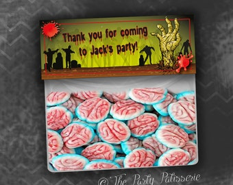 Zombie Birthday Party Thank You Favor Bag Topper Labels