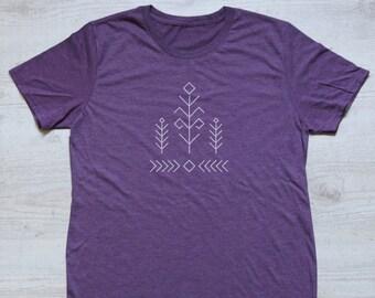 Ethnic tree tee t-shirt shirt adult unisex soft tri-blend vintage graphic ethnic drawing tee heather purple