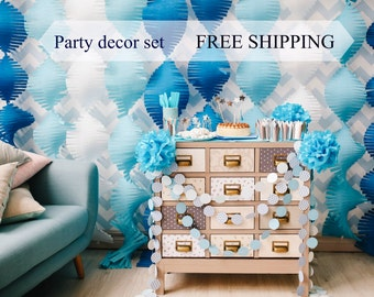 Party Decor set BLUE & silver// all in one!// Babyshower, Birthday // paper garland, streamer, crown, cake toppers// Free Shipping Worldwide