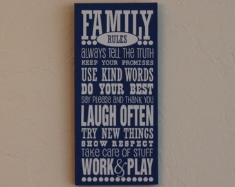 Family Rules Subway Art, Vinyl Sign, Vinyl Sayings, Family