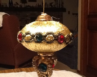 Vintage, oriental inspired gold and gem ornament for christmas