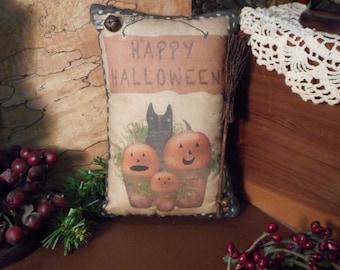Pillow Tuck: Primitive Halloween Pillow Tuck with Handmade Broom.