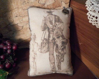Pillow Tuck: Primitive Rustic Cowboy and Daughter Americana Pillow Tuck With Star Button