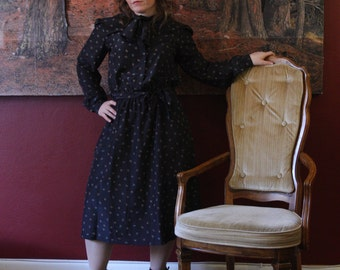 1980's Black Dress with neck tie and delicate print