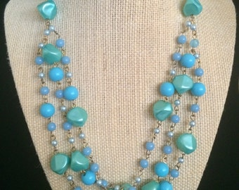 Dreamy Mid Century Triple Strand Necklace