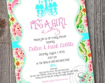 Kumari Garden Invitation, Kumari Garden Baby Shower, Kumari Garden Fabric, Teja Pink, It's a girl, CUSTOM, Baby Shower, Invitation, bird