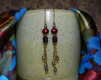 Handmade Czech Class and Pearl Earrings