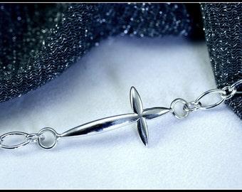 Sideways Cross Bracelet, Silver Cross Bracelet, Side Ways Cross Jewelry, Sideway Cross, Side Cross Bracelet - silver bracelet