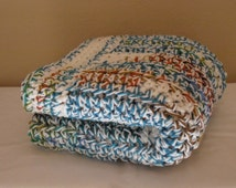 Multi Color/White Blanket Throw, Afghan, Small Afghan, Blanket, Throw, Crochet Blanket