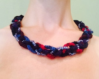 Icord Knit Necklace with Beads