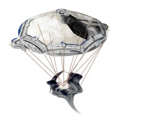 "Digital collage, ""Space saucer"", Mickaël Salvi, 2013 / art / shabby chic / cottage / home decor / child's room / kitchen"