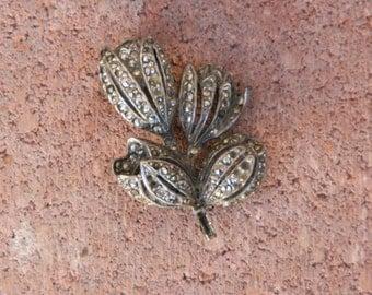 Marcasite tulip brooch