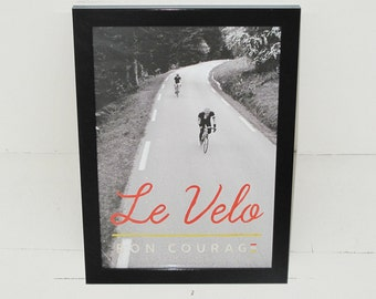 Le Velo cycling black and white poster