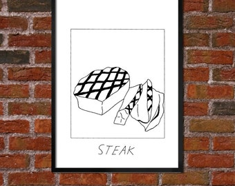 Badly Drawn Steak - Poster - *** BUY 4, GET A 5th FREE***