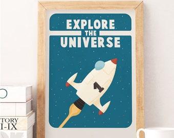 Explore quote print, Kids space art, Explore kids, Nursery print, Spaceship, Kids room decor, Nursery wall decor, Cute art, Kids room
