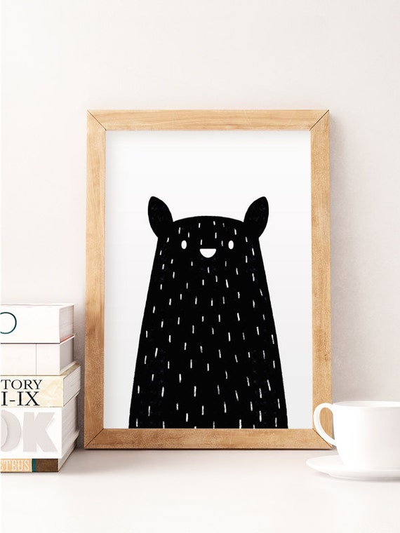 Black bear print minimal bear bear nursery art nursery for Minimal art wall