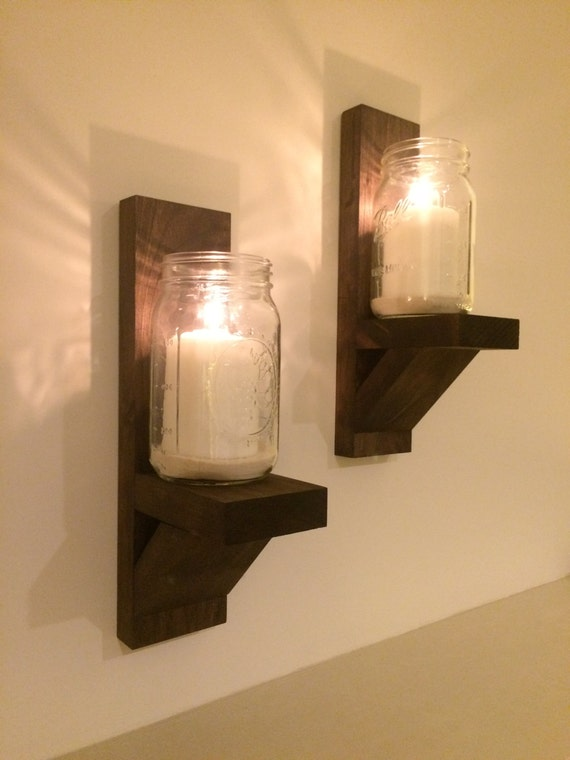 Wall Mounted Candle Holders Pair in Espresso by LongWoodCrafts