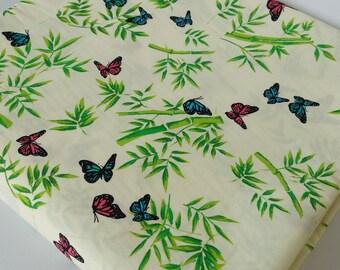 Butterflies in Bamboo Garden Cotton Fabric