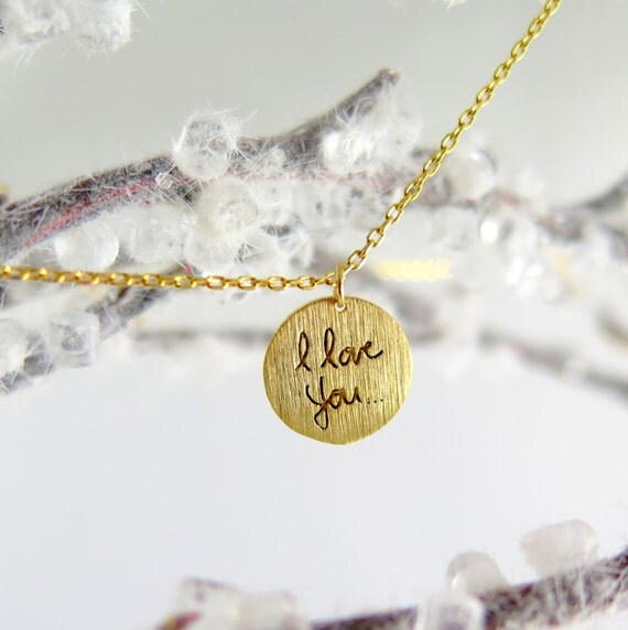 I Love You Necklace, Gold I Love You Necklace, Gold Jewelry, Gift For Girlfriend, Dainty Gold Necklace