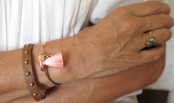 Boho Wrap Tassel Bracelet Adjustable Lock And Key Bracelet Bohemian Charm Bracelet Beads Gold Leather