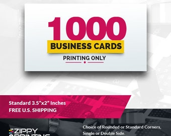 "1000 Standard Printed Business Cards 3.5"" x 2"",Business Cards Printing Rounded Corners, Matte or Glossy"