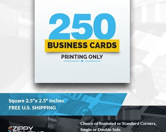 "250 Square Business Cards 2.5"" x 2.5"",Business Cards Printing Rounded Corners, Matte or Glossy"