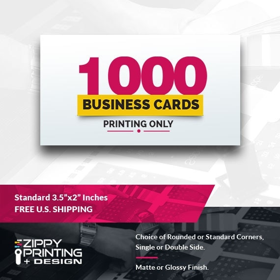 1000 standard printed business cards 35 x for Business cards 1000