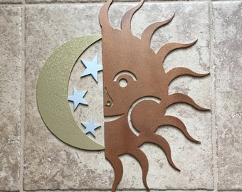 Sun Moon Star sky patio Metal Wall Art decor, gifts for her wife girlfriend friend mom, Mother's Day, birthday, christmas