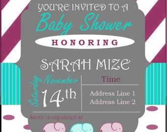 Baby Girl Elephant Shower Invitation
