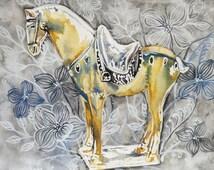 Tang horse print, horse print, horse illustration, horse watercolour, chinese horse, war horse