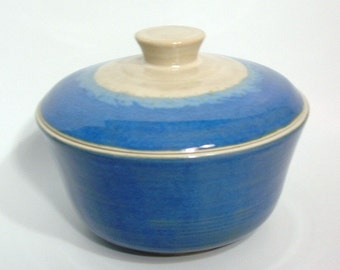 Casserole Dish, Blue and Cream Color, Covered Dish, Vegetable Bowl with Lid
