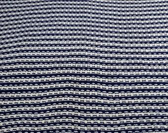 Handmade Crochet Blue and White Afghan Blanket