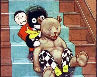 TEDDY & GOLLIWOG Down The Nursery Stairs. VINTAGE Illustration. Vintage Golliwog Digital Download. Art Deco Children Book.