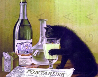 Black Cat Drinks From Glass 1900s French Absinthe Ad Digital Cat Download Vintage Print Cat Art Absinthe Poster