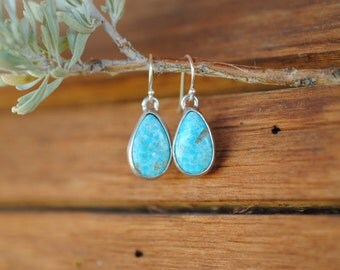 Simple Turquoise Dangle Earrings | Sterling Silver