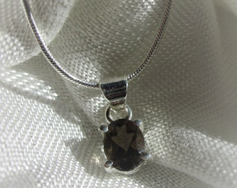 Oval Smoky Quartz gemstone, sterling silver pendant necklace
