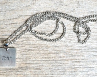 Faith - Inspirational / Expressional Necklace Pendant Jewelry, Stainless Steel