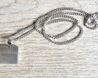 Integrity - Inspirational / Expressional Necklace Pendant Jewelry, Stainless Steel
