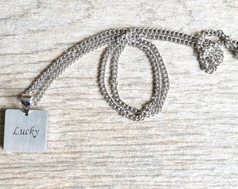 Lucky - Inspirational / Expressional Necklace Pendant Jewelry, Stainless Steel