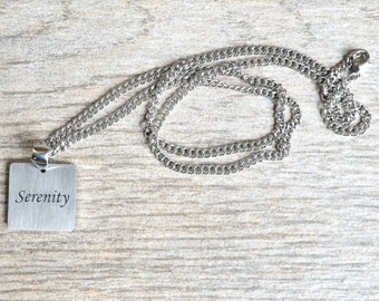 Serenity - Inspirational / Expressional Necklace Pendant Jewelry, Stainless Steel