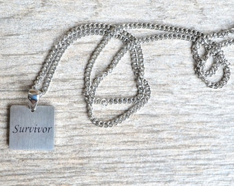 Survivor - Inspirational / Expressional Necklace Pendant Jewelry, Stainless Steel
