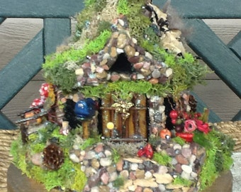 FAIRY COTTAGE - Fairy House - Fairy Habitat - Pixie- Woodland Cottage - Fairy Dwelling -  Fantasy - Magical - Tea Time Cottage - Free S/H